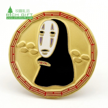 Wholesale personalized custom metal enamel gold plated famous movie spirited away no-face man lapel pin for souvenir