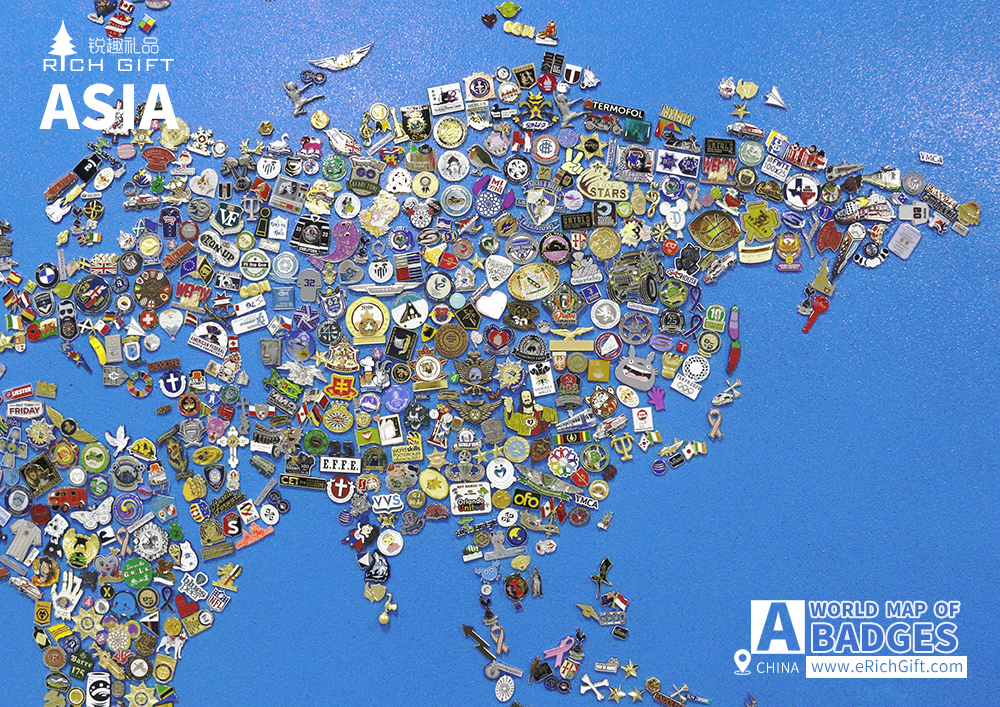 a world map made up of badges